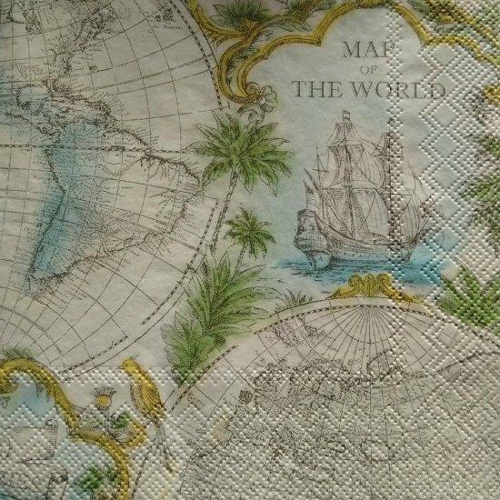 Decoupage Set x 4 Paper Napkins - Map Of The World (Cream) [IHR ...