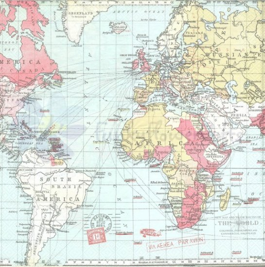World Map   Paper Napkins [R2S]   £3.99 : Funky Flower Gifts